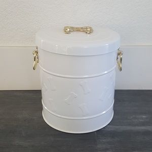 White Gold Dog Treat Canister
